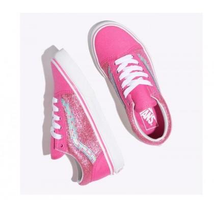 (Mermaid Scales) Carmine Rose/True White - Kids Old Skool Rose/White Sale Shoes by Vans