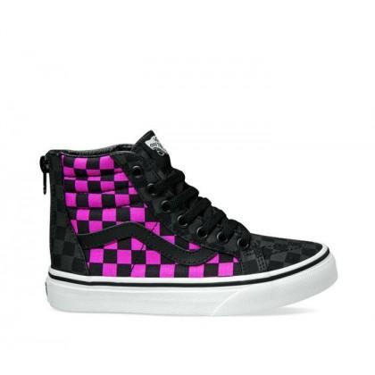 (Checkerboard) Carmine Rose/Black - Kids Sk8-Hi Checker Rose Black Sale Shoes by Vans