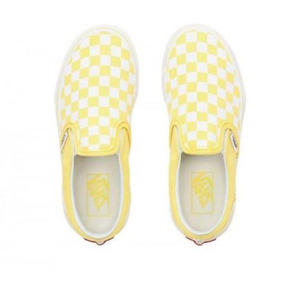 (Checkerboard) Aspen Gold/True White - Kids Slip On Checkerboard Aspen Gold Sale Shoes by Vans