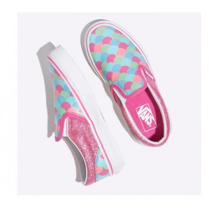 (Mermaid Scales) Carmine Rose/True White - Kids Slip On Rose/White Sale Shoes by Vans