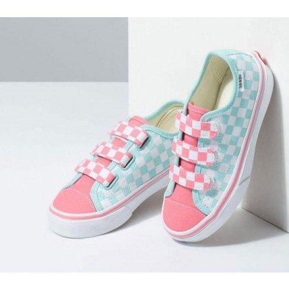 (Checkerboard) Blue Tint/Strawberry Pink - Kids Style 23 Velcro Checkerboard Blue/Pink Sale Shoes by Vans