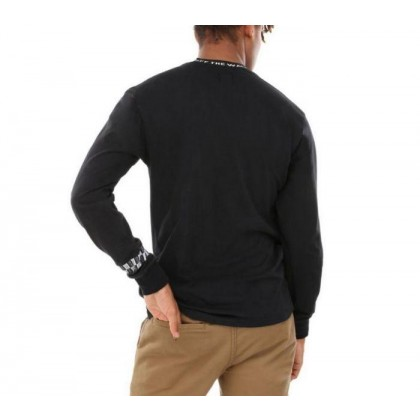 Black - Off The Wall Black Long Sleeve Jacquard Tee Sale Shoes by Vans