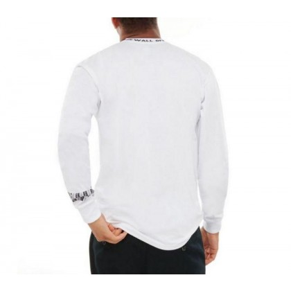 White - Off The Wall White Long Sleeve Jacquard Tee Sale Shoes by Vans