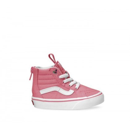 (Heart Eyelet) Strawberry Pink/True White - Sk8-Hi Toddler Zip Heart Eyelet Strawberry Sale Shoes by Vans