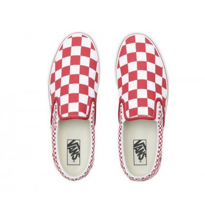 (Mix Checker) Chili Pepper/True White - Slip On Mix Checker Chilli Pepper/True White Sale Shoes by Vans