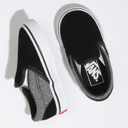(Suede) Suiting/Black - TODDLER CLASSIC SLIP ON GREY Sale Shoes by Vans