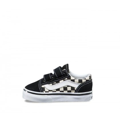 (Primary Check) Black/White - TODDLER OLD SKOOL VELCRO PRIMARY CHECK BLACK Sale Shoes by Vans