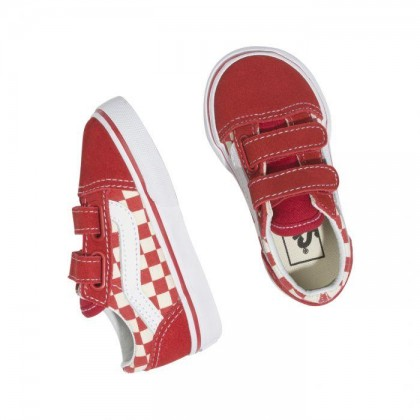 (Primary Check) Racing Red/White - TODDLER OLD SKOOL VELCRO PRIMARY CHECK RED Sale Shoes by Vans