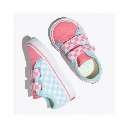 (Checkerboard) Blue Tint/Strawberry Pink - Toddler Style 23 Velcro Checkerboard Blue/Pink Sale Shoes by Vans