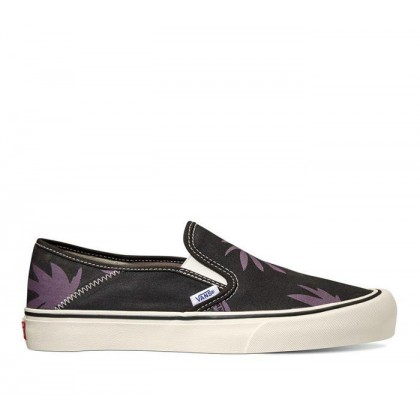 (Summer Leaf) Black/Black Plum - SLIP-ON SF Sale Shoes by Vans