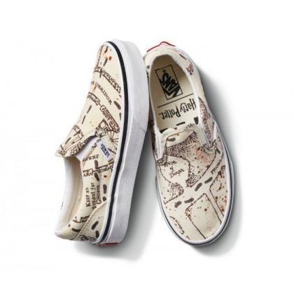 (Harry Potter) Marauders Map/Classic White - Vans X Harry Potter Kids Classic Slip On Marauders Map Sale Shoes by Vans