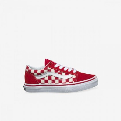 (Primary Check) Racing Red/White - YOUTH OLD SKOOL PRIMARY CHECK RED Sale Shoes by Vans