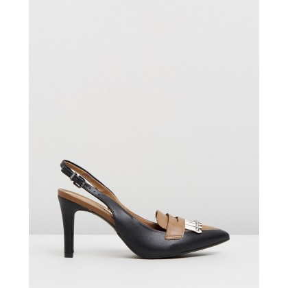 Josie Slingback Pumps Black & Camel by Vizzano