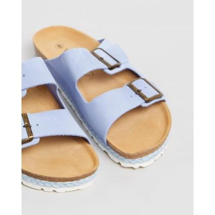 Hawaii Suede Sandalia Slides Blue by Walnut Melbourne