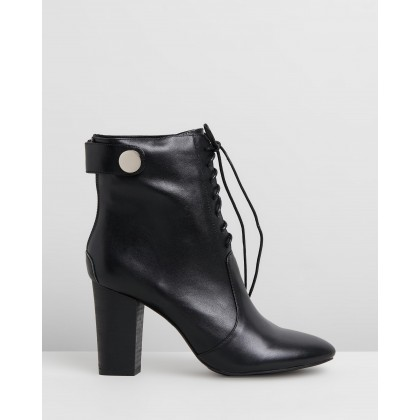 Hazel Leather Lace Boots Black by Walnut Melbourne