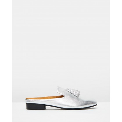 Faye Leather Slides Silver by Walnut Melbourne
