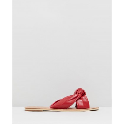 Issy Leather Knot Slides Red by Walnut Melbourne