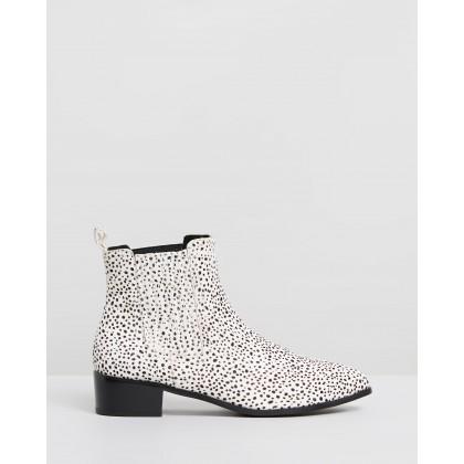 Jada Leopard Boots Mini White & Black Spot by Walnut Melbourne