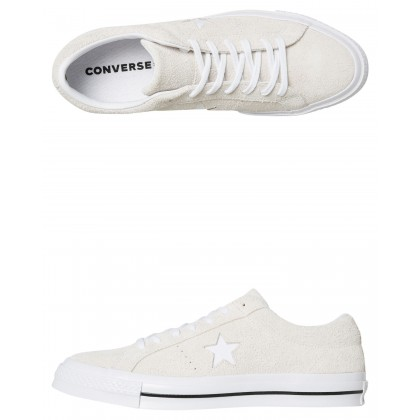 Mens One Star Suede Shoe White White By CONVERSE