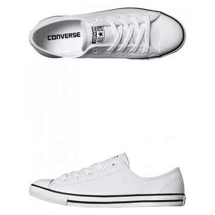 Chuck Taylor Womens All Star Dainty Leather Shoe White By CONVERSE