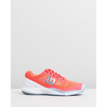 Rush Pro 3.0 All Court - Women's Fiery Coral, White & Blue by Wilson