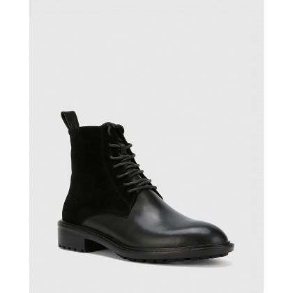 Dean Suede Leather Lace Up Flat Boots Black by Wittner