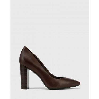 Hether Pointed Toe Block Heels Brown by Wittner