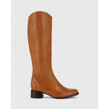 Bernia Wide Fit Long Boots Tan by Wittner