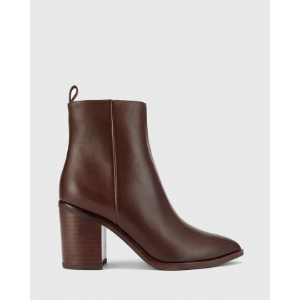 Pearce Block Heel Ankle Boots Brown by Wittner