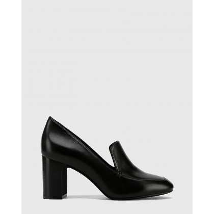 Galis Nappa Leather Block Heel Almond Toe Loafers Black by Wittner