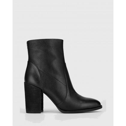 Halstead Block Heel Ankle Boots Black by Wittner