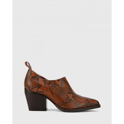 Keisha Pointed Toe Block Heel Booties Prints by Wittner