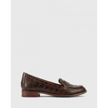 Hazie Block Heel Penny Loafers Brown by Wittner