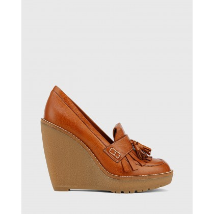 Tanya Round Toe Tasselled Loafer Wedges Tan by Wittner