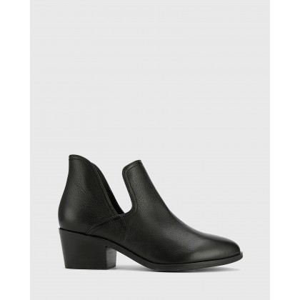 Irisa Cut Out Block Heel Ankle Boots Black by Wittner
