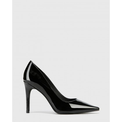 Hay Patent Leather Snib Toe Stiletto Heels Black by Wittner