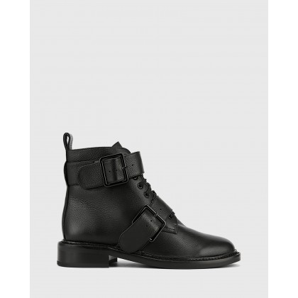 Braiden Lace Up Flat Ankle Boots Black by Wittner