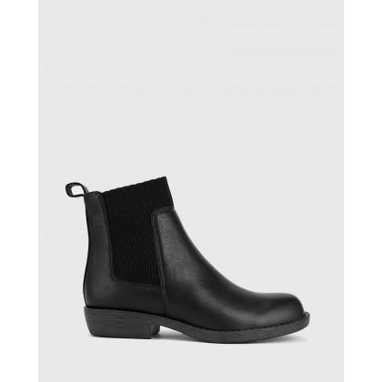 Deegan Gusset Block Heel Ankle Boots Black by Wittner