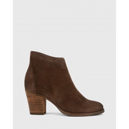 Kylar Block Heel Ankle Boots Brown by Wittner