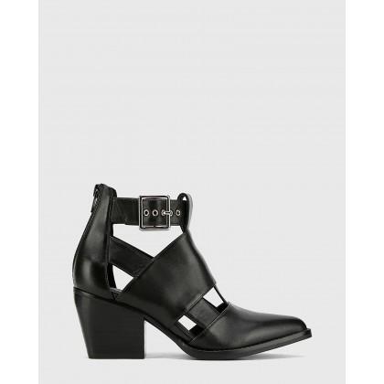 Keija Leather Block Heel Buckle Ankle Boots Black by Wittner