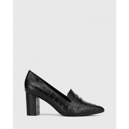 Donner Black Crocodile Print Leather Block Heel Pointed Pump Black by Wittner