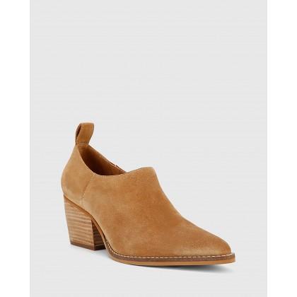 Keisha Suede Leather Pointed Toe Block Heel Booties Beige by Wittner