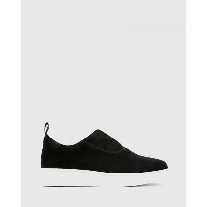 George Suede Leather Slip On Sneakers Black by Wittner