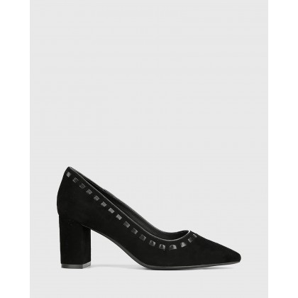 Dallory Suede Pointed Toe Block Heels Black by Wittner