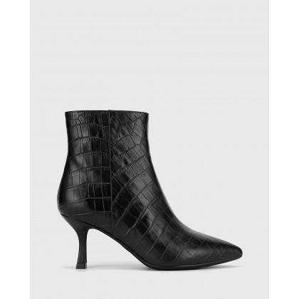 Derova Croc Print Leather Stiletto Heel Ankle Boots Black by Wittner