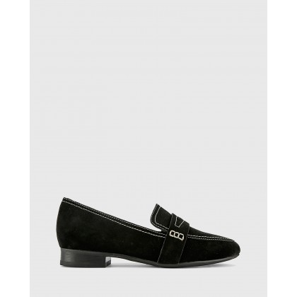 Abelon Suede Stitched Flat Penny Loafers Black by Wittner