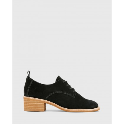 Fernanda Suede Lace Up Brogues Black by Wittner