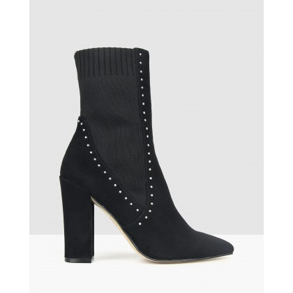 Blatent Embellished Block Heel Boots Black by Zu