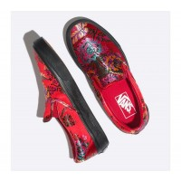 (Festival Satin) Red/Black - Classic Slip On Festival Satin Sale Shoes by Vans